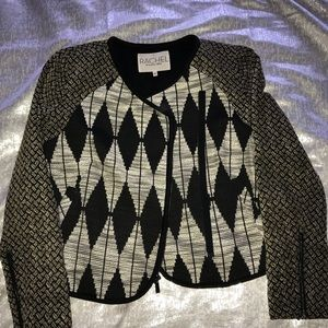 Rachel Roy jacket; sz 12 black/white/tan